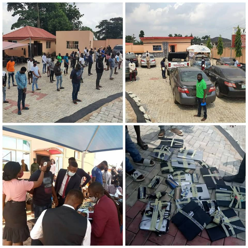 Photos Of 3 Yahoo Yahoo NYSC Members,19 Undergraduates Arrested For Alleged Internet Fraud In Ogbomoso
