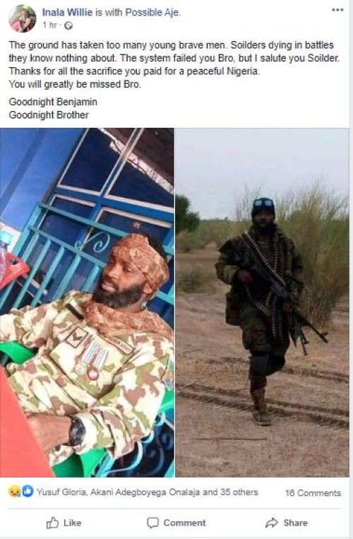 benjamin - Oh No! Younger Soldier Killed In Battle With Boko Haram Terrorists (Photograph)