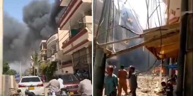 Scene of the plane crash in Pakistan