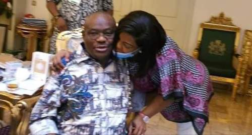 Governor Nyesom Wike gets a peck from his wife after Edo election victory