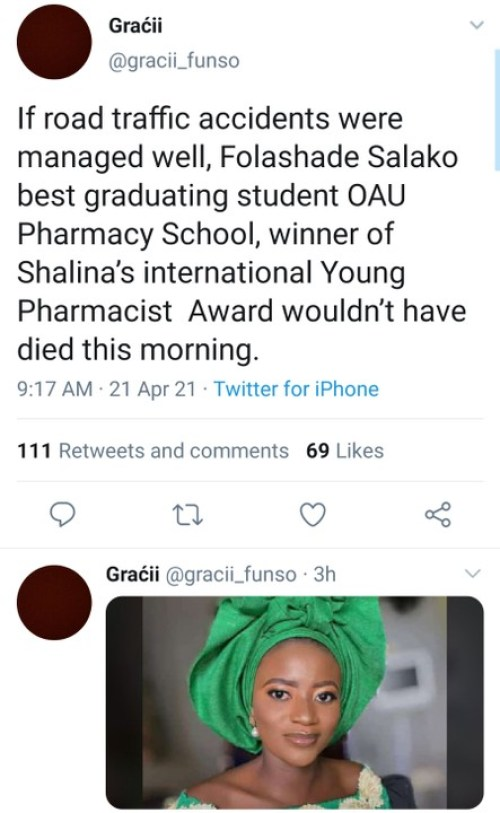 OAU Best Graduating Pharmacy Student Dies In An Accident (Photo) funso1