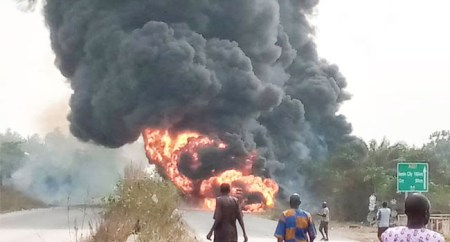 Horror! Driver Gets Burnt To Death In Ogun Diesel Tanker Explosion