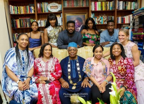 Ex Miss World, Agbani Darego posing with her inlaws