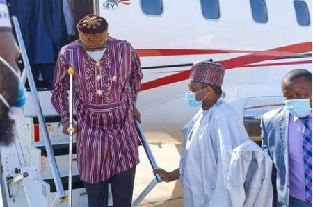 Minister Of Transportation, Amaechi Seen Walking With Crutches After Getting Injured (Photos)