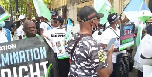 Igboho supporters protest in Benin Republic