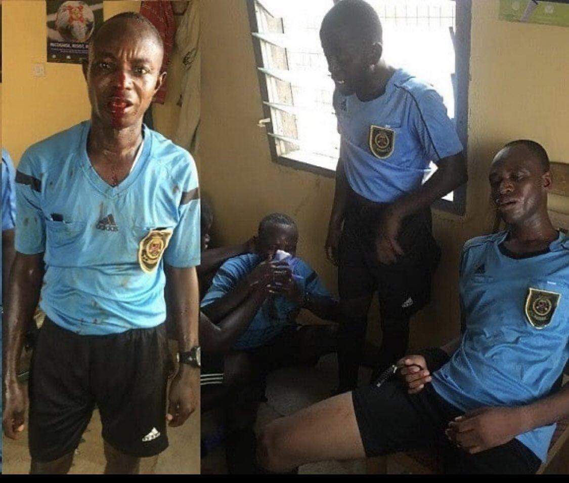 Referee and other match officials beaten mercilessly by angry fans