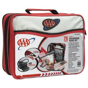 A triple A roadside kit, in a bag with a handle.