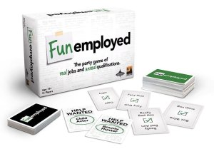 A card game, Funemployed, showing a box and a set of cards.
