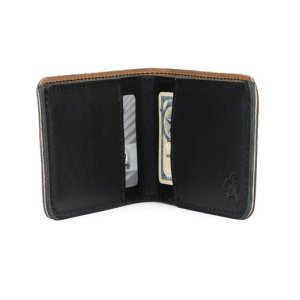 A brown-and-black leather wallet is open to display its contents.