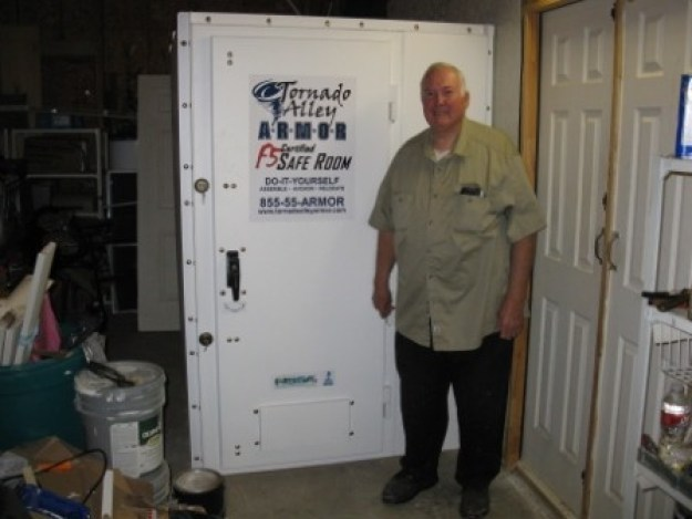 Old man standing beside tornado alley safety room | Tips For Sheltering In Place