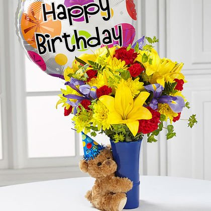 Happy Birthday Flowers And Balloons Will Decorate Your Birthday Party
