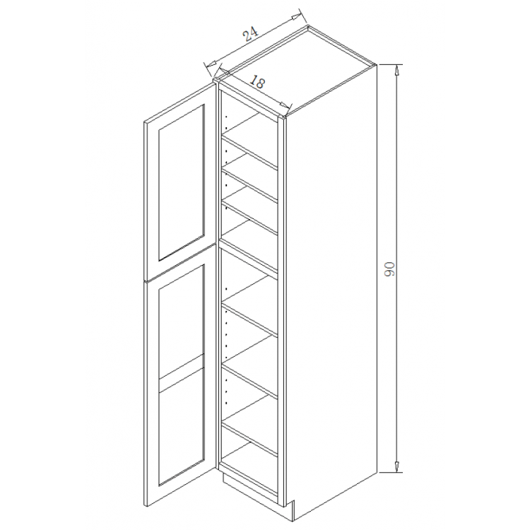 Tp182490 Tall Pantry Cabinet Galaxy Gray Kitchen