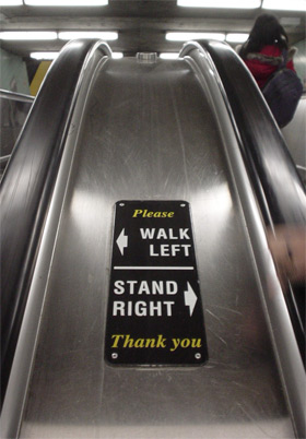 Image result for stand to the right on escalators