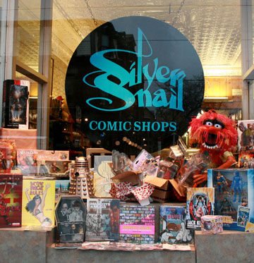storefront of comic book store Silver Snail