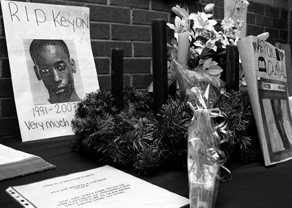 Shrine for Keyon in the school's main foyer