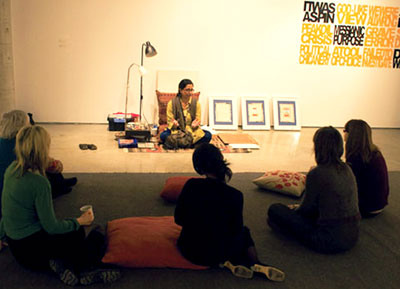 Toronto artist Tazeen Qayyum discusses her work before leading a painting demonstration at UTSC's Doris McCarthy Gallery.