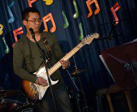 Joshua Lopez of Miss Saigon fame closes his eyes as he improvises along with his band. (Phillip Smalley/Toronto Observer)