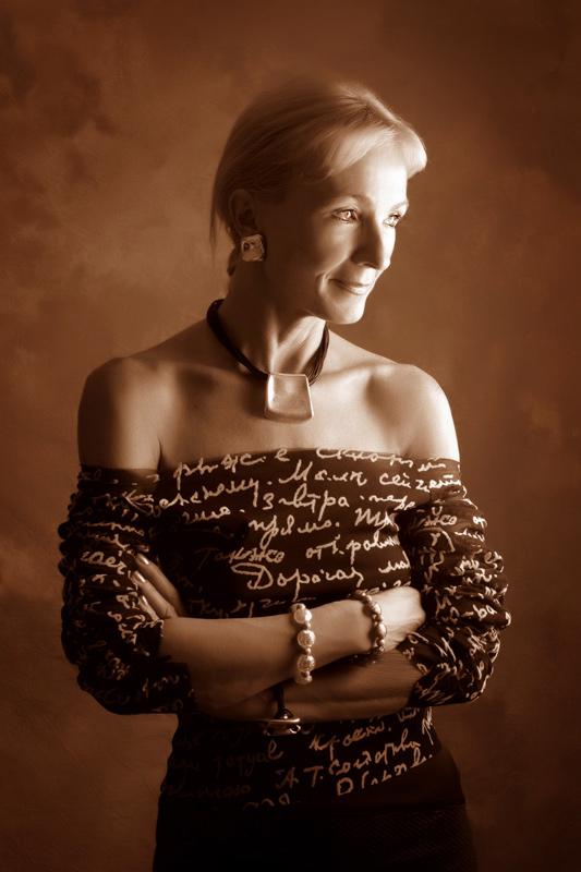 Portrait of women in sepia tone taken in photo studio