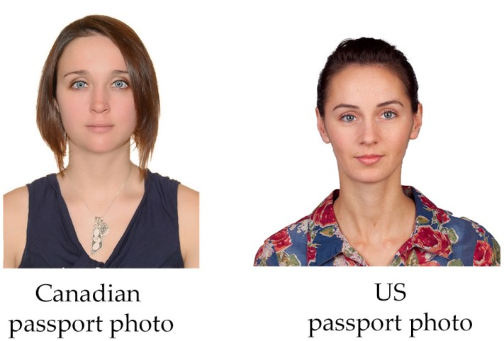 two girls, one as a sample of Canadian passport photo and the other as a Us Passport photo