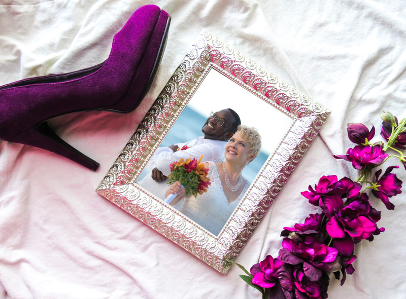 Wedding frame with red shoe and flower