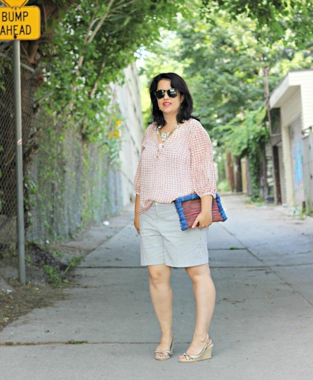 searsucker shorts, polka dot blouse, boho clutch