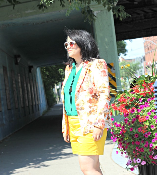 zara floral blazer, yellow shorts, green silk blouse