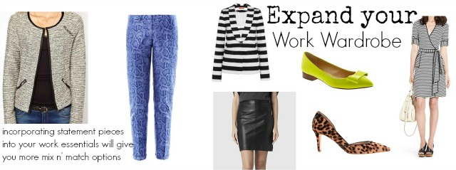 spice up your work wardrobe, work wardrobe remix, mix and match work outfits
