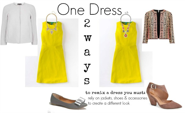 one dress 2 ways, what to wear with yellow