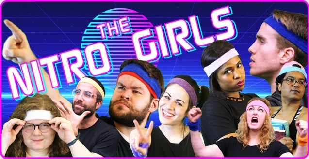 The Nitro Girls logo appears above members of the Nitro Girls wearing multicolored 80's-style sweatbands and striking a variety of poses--looking intensely into the camera, pointing at things, staring dramatically off into the distance, screaming with fists raised, etc.