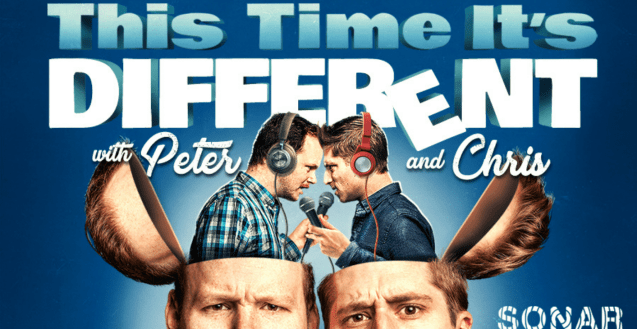A blue graphic with a photo of Peter and Chris looking at the camera. The tops of their heads are open like the lid of a box to reveal another version of themselves wearing headphones and speaking into microphones, looking at each other.