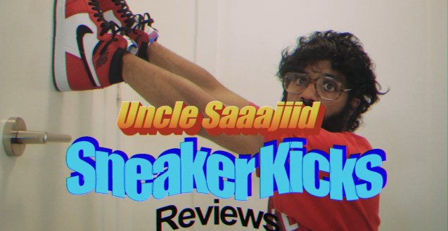 "Uncle Saaajiid turns his head to looks at the camera while he wears red, white, and black Nike sneakers on his hands, pressed against a door. The orange and blue graphic covers some of his face and reads ""Uncle Saaajiid Sneaker Kicks Reviews"""