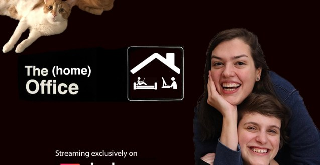 """A cut out photo of Alli, Virginia, and their 2 cats on a black background with the text """"The (Home) Office"""" and """"streaming exclusively on Rizzle"""""""
