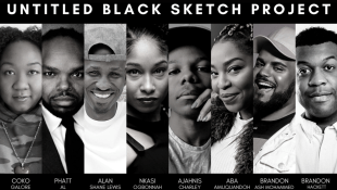 "A black graphic with individual black and white photos of the eight members of Untitled Black Sketch Project. In white text above the photos it reads ""Untitled Black Sketch Project"". In white text below the photos id reads the names of the troupe members: Coko Galore, PHATT Al, Alan Shane Lewis, Nkasi Ogbonnah, Ajahnis Charley, Aba Amuquandoh, Brandon Ash Mohammed, Brandon Hackett"