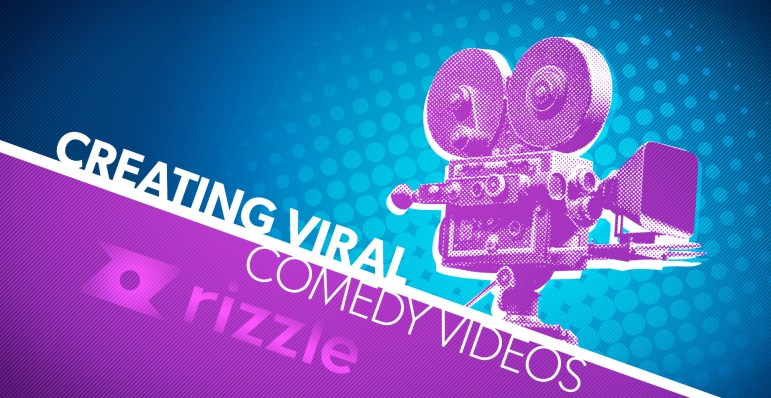 """Blue, purple and white graphic that reads """"Creating Viral Comedy Videos"""" with the Rizzle logo below. On the right side is a stylized photo of a vintage film camera."""