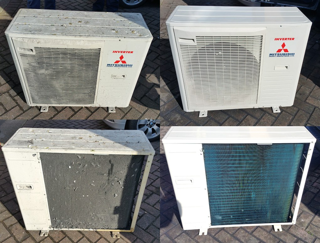 Before and after pictures of an air conditioning condensing unit after a maintenance and deep clean. Notice how badly fouled the coil is in the bottom left image. The build up of matted on dirt was so bad that no air whatsoever could pass over the coil, rendering the unit completely ineffective.