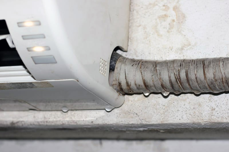 An air conditioning unit leaking water.