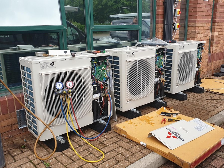 Pressure testing the air conditioning systems and pipe work