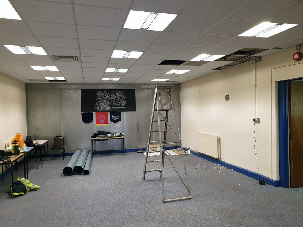 The Cleethorpes Band rehearsal room prior to the ventilation being installed
