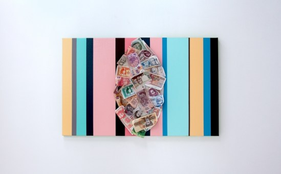 "<p style=""font-size: 13px;""><strong>Humanity portrait</strong> <p style=""text-align: center;"">2014. Enamel on canvas, printed currency. 20 x 32 inches."