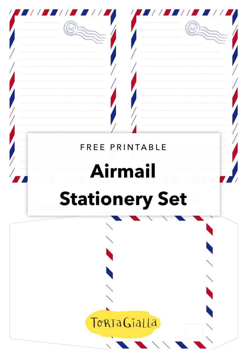 free printable airmail stationery set