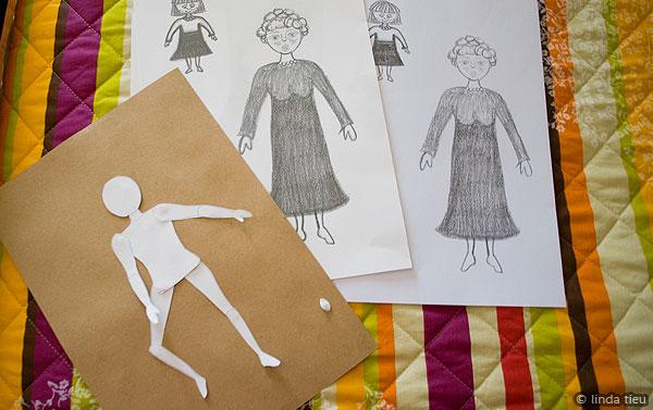 drawing on printable paper dolls