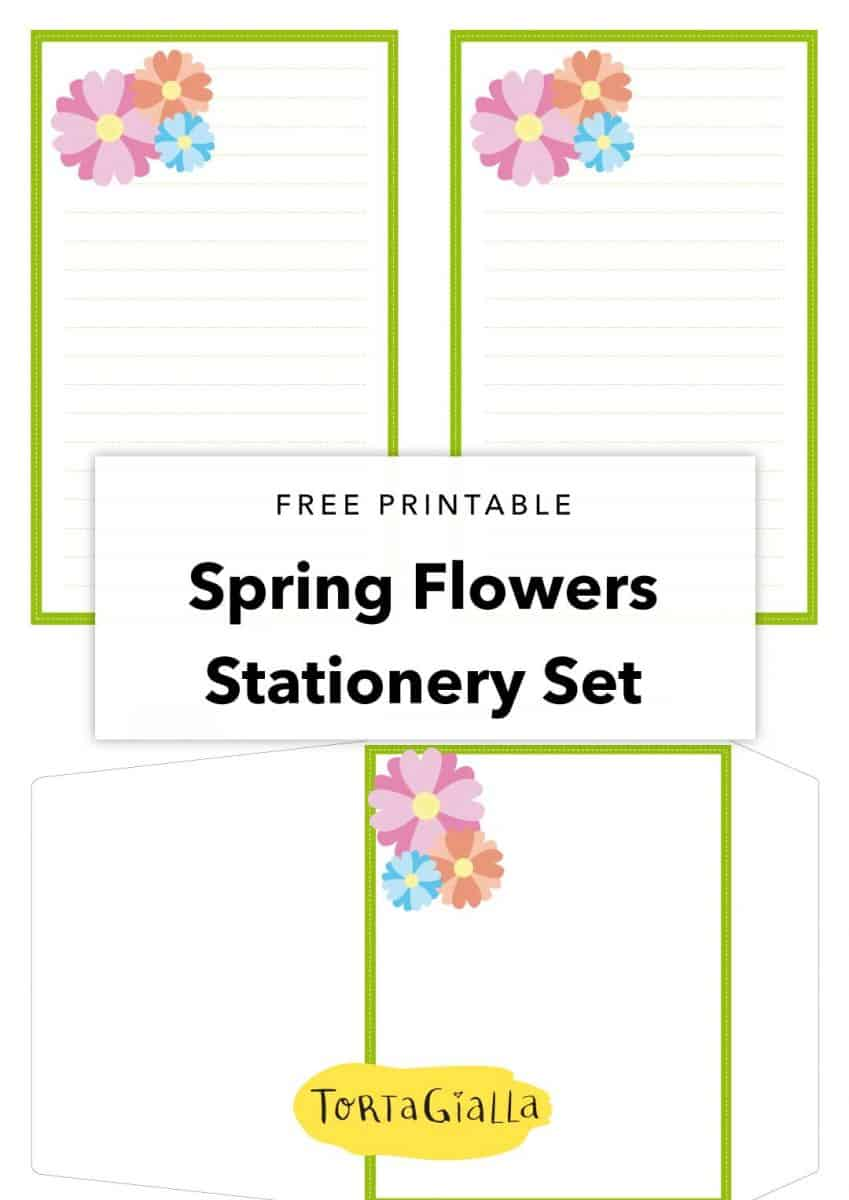 Spring Flowers Stationery Set A Printable Freebie Tortagialla
