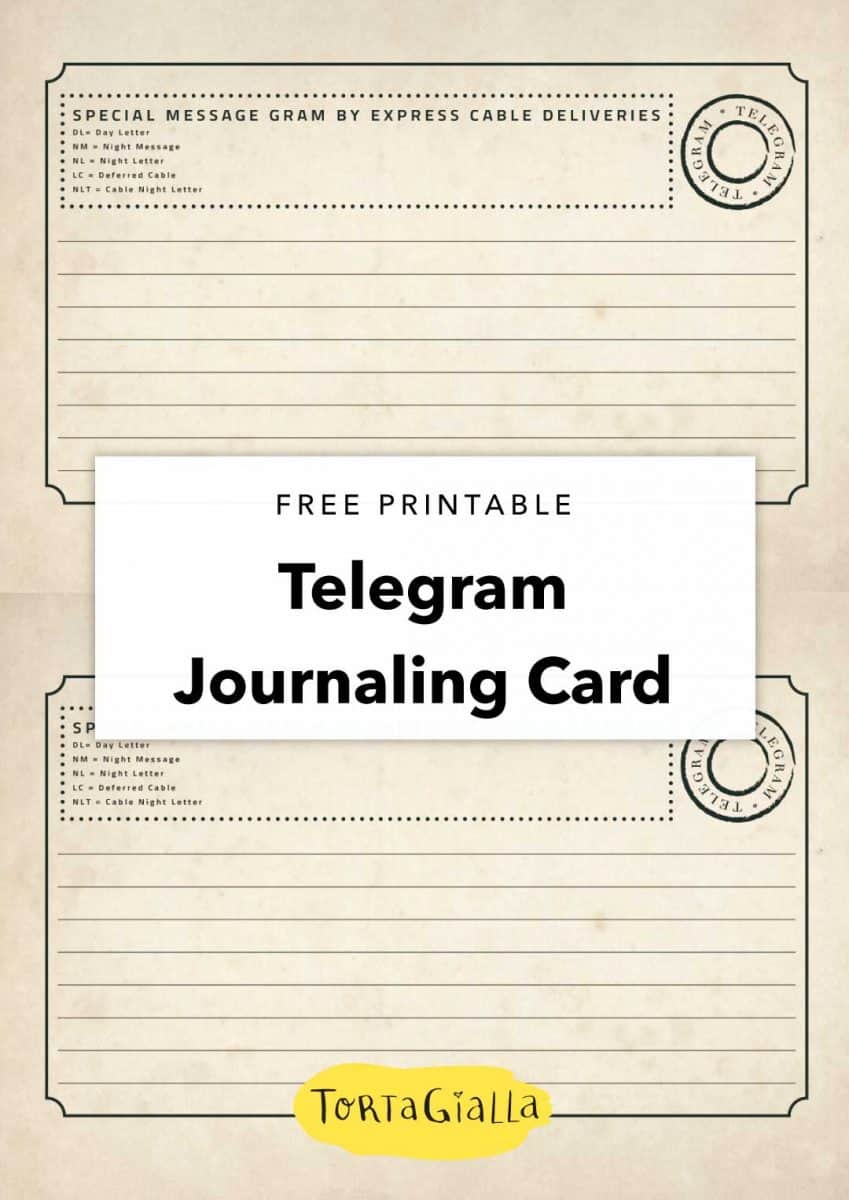 free printable telegram journaling card