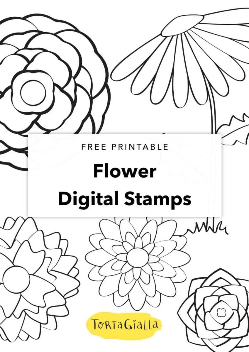 free printable flower digital stamps