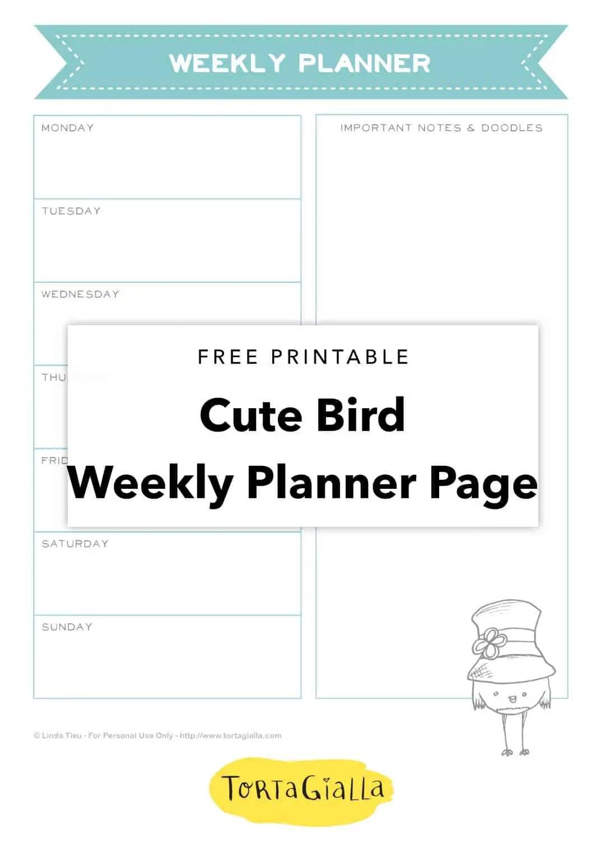 Free Printable Cute Bird Weekly Planner Page Tortagialla