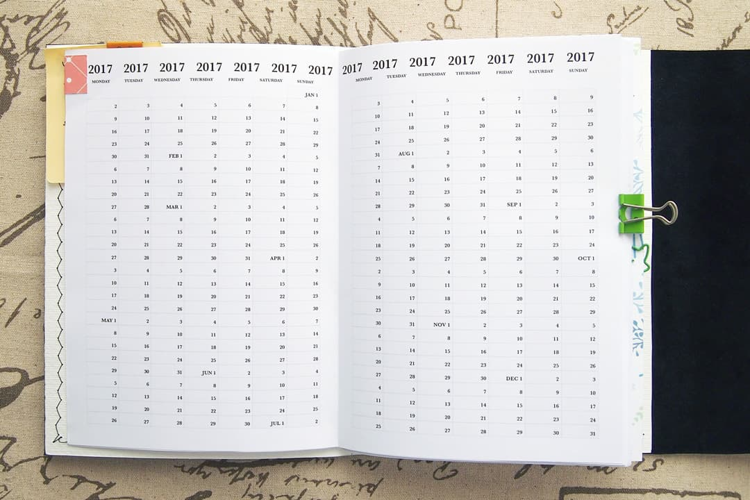 bullet journal setup - calendar