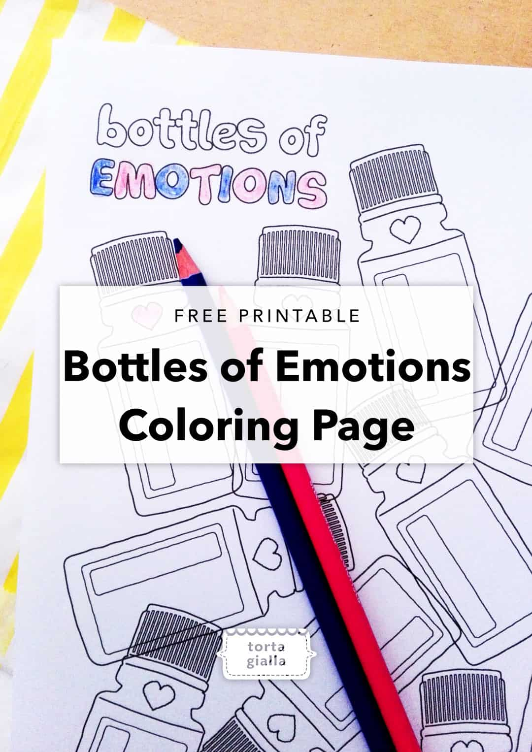 bottles of emotions coloring page // free printable