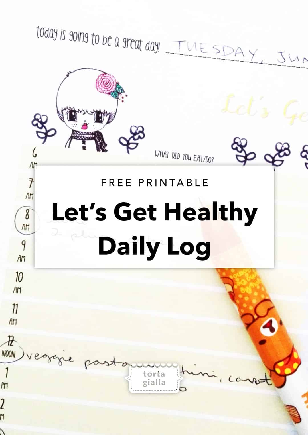 Let's Get Healthy Daily Log Printable