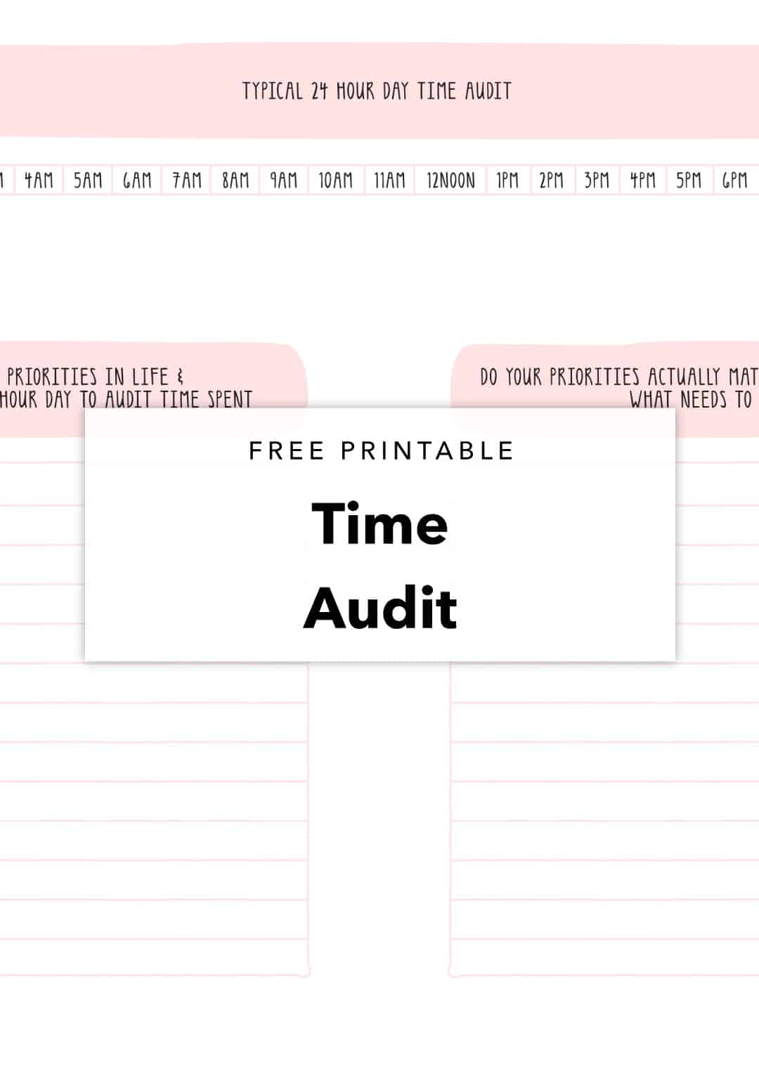 Free Printable Time Audit Planning