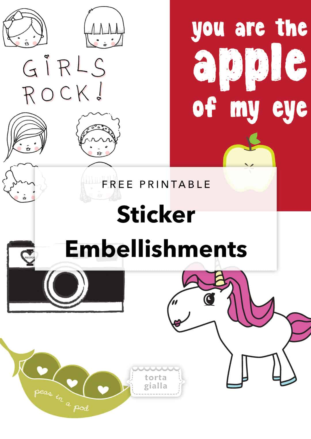 Check out these cute free printable stickers - a variety of adorable illustrations that you can use in art journaling or print on sticky paper!